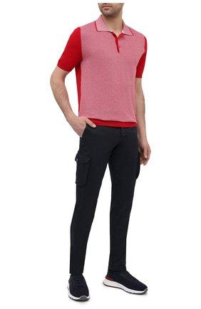 Мужские брюки-карго изо льна и хлопка KITON темно-синего цвета, арт. UFPPCAJ07T38 | Фото 2
