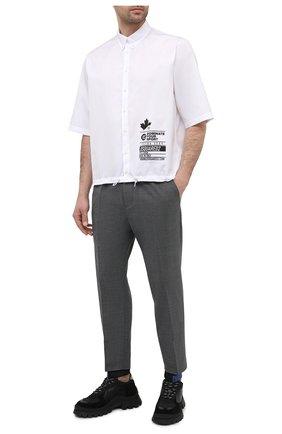 Мужские джоггеры DSQUARED2 темно-серого цвета, арт. S74KB0487/S53632 | Фото 2 (Длина (брюки, джинсы): Укороченные; Силуэт М (брюки): Джоггеры; Стили: Гранж; Материал подклада: Вискоза; Материал внешний: Шерсть, Синтетический материал)