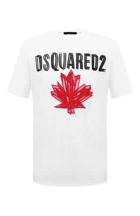 Мужская хлопковая футболка DSQUARED2 белого цвета, арт. S74GD0784/S23852   Фото 1