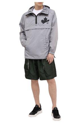 Мужская анорак DSQUARED2 серого цвета, арт. S74AM1162/S53817 | Фото 2 (Кросс-КТ: Ветровка, Куртка; Материал подклада: Синтетический материал; Рукава: Длинные; Материал внешний: Синтетический материал; Стили: Гранж; Длина (верхняя одежда): До середины бедра)