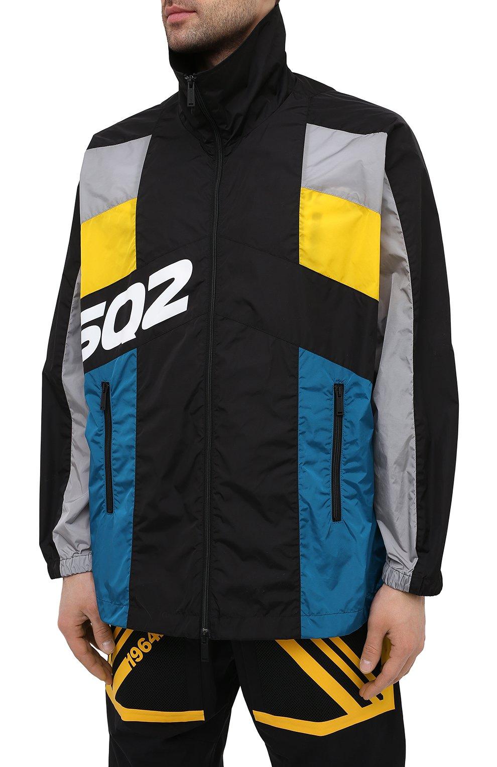 Мужская куртка DSQUARED2 разноцветного цвета, арт. S74AM1132/S49197 | Фото 3 (Кросс-КТ: Куртка, Ветровка; Рукава: Длинные; Длина (верхняя одежда): До середины бедра; Материал внешний: Синтетический материал; Стили: Гранж, Спорт-шик)