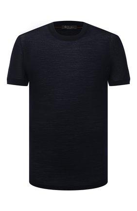 Мужская шерстяная футболка LORO PIANA темно-синего цвета, арт. FAL6133 | Фото 1
