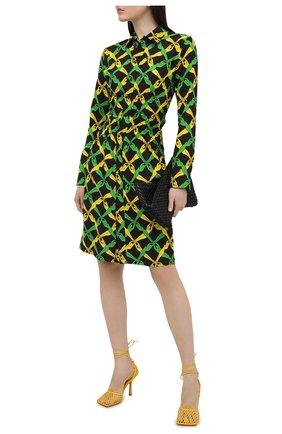 Женские текстильные босоножки stretch BOTTEGA VENETA желтого цвета, арт. 651388/VBSD3 | Фото 2