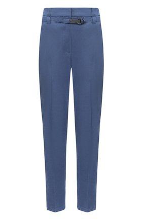 Женские брюки из льна и хлопка BRUNELLO CUCINELLI голубого цвета, арт. MF591P7453 | Фото 1