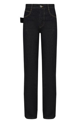 Женские джинсы BOTTEGA VENETA темно-синего цвета, арт. 648493/V08Y0 | Фото 1 (Кросс-КТ: Деним; Силуэт Ж (брюки и джинсы): Прямые; Материал внешний: Хлопок; Длина (брюки, джинсы): Удлиненные; Стили: Кэжуэл)