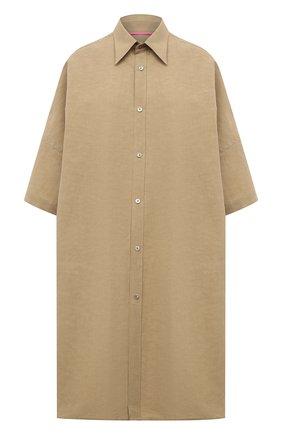 Женская рубашка из льна и хлопка Y`S бежевого цвета, арт. YT-B40-330   Фото 1