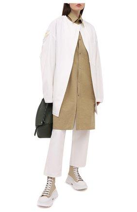 Женская рубашка из льна и хлопка Y`S бежевого цвета, арт. YT-B40-330   Фото 2