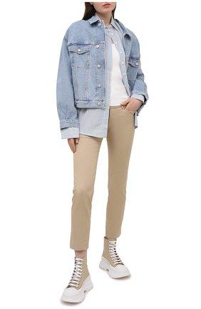 Женские хлопковые брюки DSQUARED2 бежевого цвета, арт. S75KB0187/S39021 | Фото 2