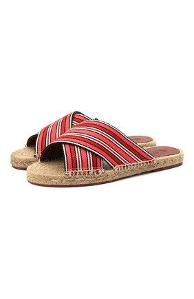 Женские текстильные шлепанцы suitcase stripe LORO PIANA красного цвета, арт. FAL1150 | Фото 1