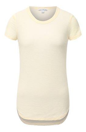Женская хлопковая футболка JAMES PERSE желтого цвета, арт. WUA3037 | Фото 1