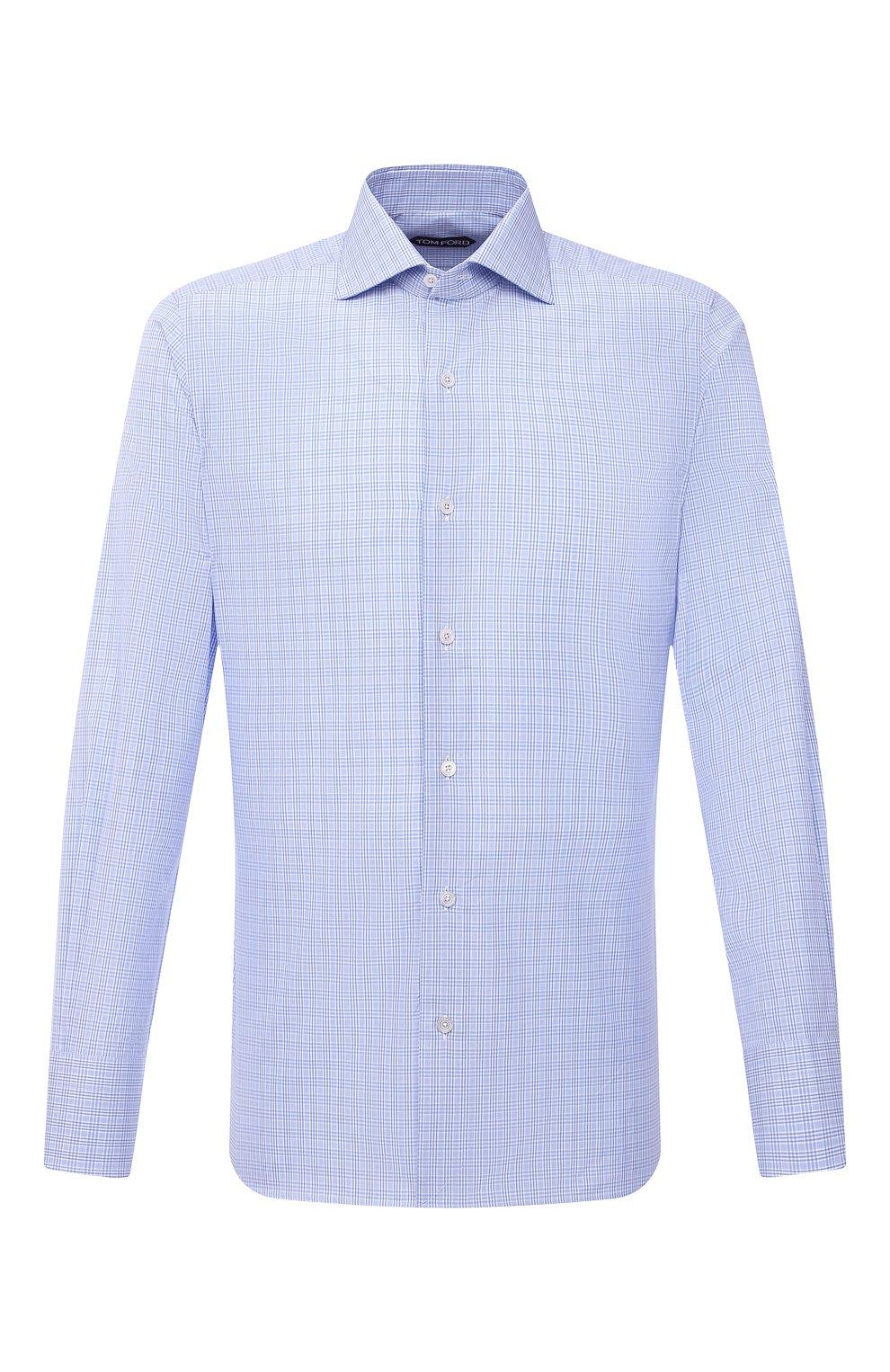 Мужская хлопковая сорочка TOM FORD синего цвета, арт. 9FT133/94S3AX   Фото 1