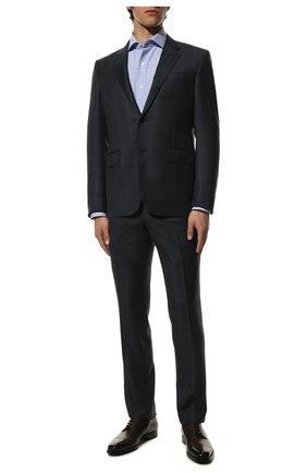 Мужская хлопковая сорочка TOM FORD синего цвета, арт. 9FT133/94S3AX | Фото 2 (Воротник: Акула; Рубашки М: Slim Fit; Стили: Классический; Рукава: Длинные; Длина (для топов): Стандартные; Материал внешний: Хлопок; Манжеты: На пуговицах; Случай: Формальный; Принт: Клетка)