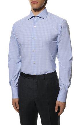 Мужская хлопковая сорочка TOM FORD синего цвета, арт. 9FT133/94S3AX   Фото 3