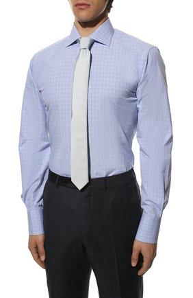 Мужская хлопковая сорочка TOM FORD синего цвета, арт. 9FT133/94S3AX   Фото 4