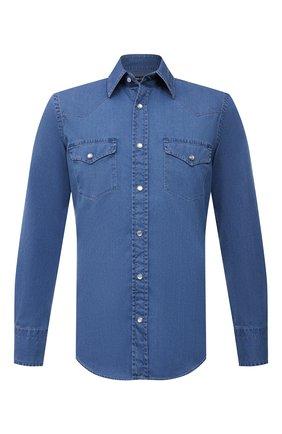 Мужская джинсовая рубашка TOM FORD синего цвета, арт. 9FT460/94MEKI | Фото 1 (Длина (для топов): Стандартные; Рубашки М: Slim Fit; Рукава: Длинные; Принт: Однотонные; Материал внешний: Хлопок; Кросс-КТ: Деним; Воротник: Кент; Случай: Повседневный; Стили: Кэжуэл; Манжеты: На кнопках)