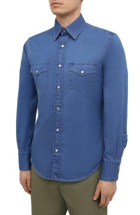Мужская джинсовая рубашка TOM FORD синего цвета, арт. 9FT460/94MEKI   Фото 3