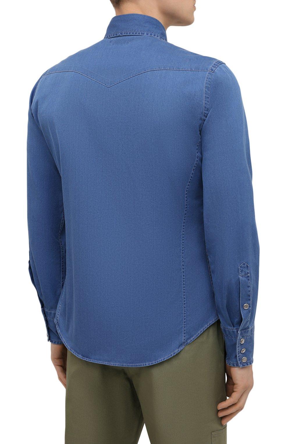 Мужская джинсовая рубашка TOM FORD синего цвета, арт. 9FT460/94MEKI   Фото 4