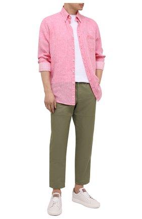 Мужская льняная рубашка PAUL&SHARK розового цвета, арт. 21413108/F7E | Фото 2