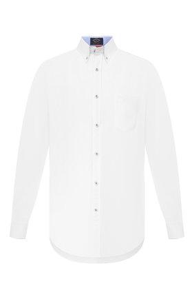 Мужская рубашка из хлопка и льна PAUL&SHARK белого цвета, арт. 21413002/F5H | Фото 1