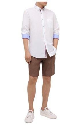 Мужская рубашка из хлопка и льна PAUL&SHARK белого цвета, арт. 21413002/F5H | Фото 2