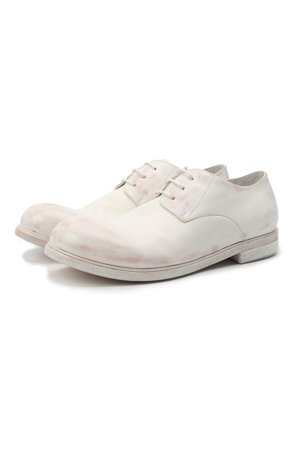 Мужские кожаные дерби MARSELL белого цвета, арт. MM2443/PELLE CERATA | Фото 1 (Материал внутренний: Натуральная кожа; Стили: Классический)