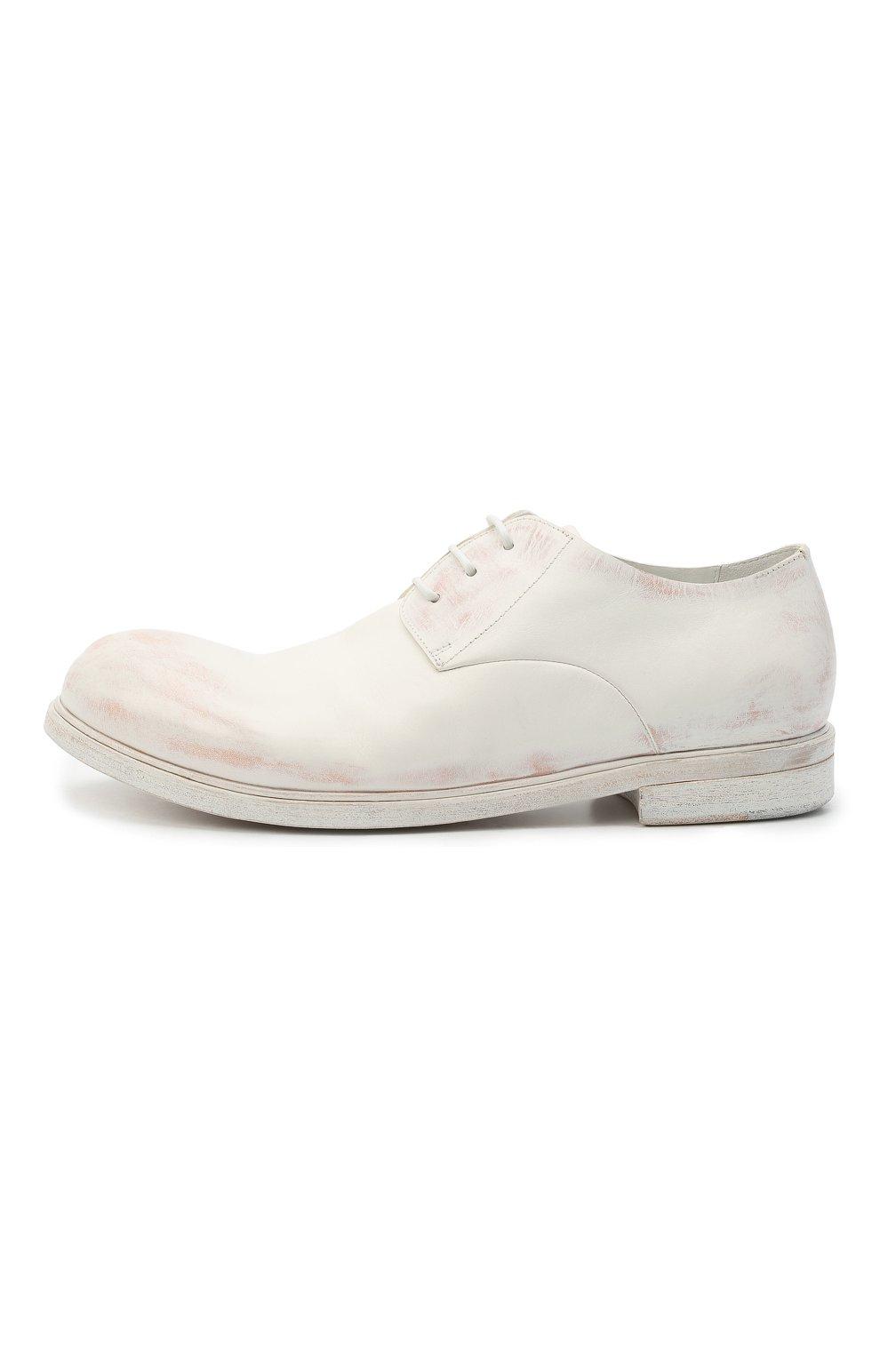 Мужские кожаные дерби MARSELL белого цвета, арт. MM2443/PELLE CERATA | Фото 3 (Материал внутренний: Натуральная кожа; Стили: Классический)