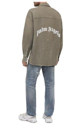 Мужская рубашка PALM ANGELS хаки цвета, арт. PMGA079R21FAB0025601   Фото 2