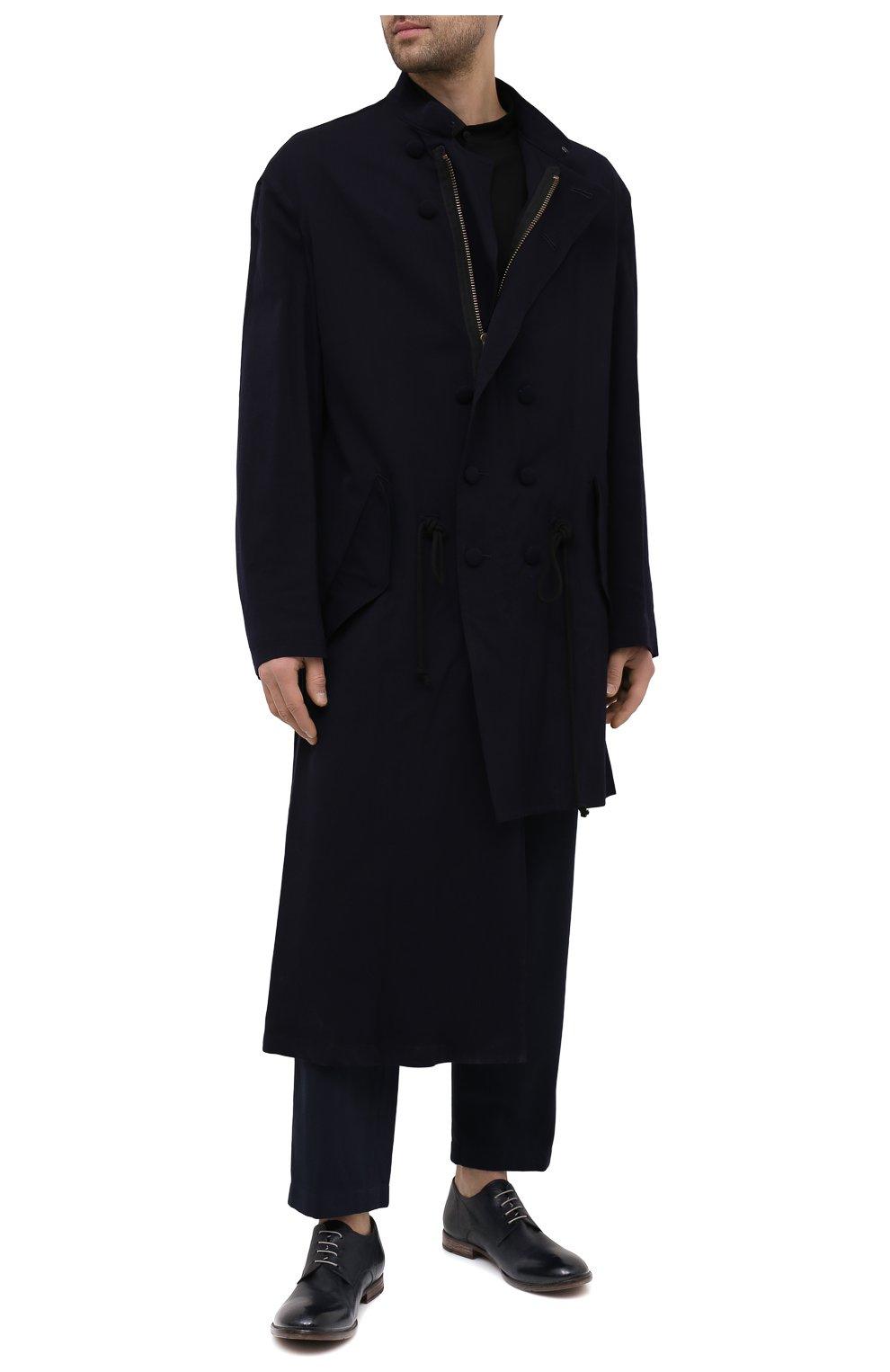 Мужские кожаные дерби MOMA темно-синего цвета, арт. 2AS120-S0   Фото 2 (Материал внутренний: Натуральная кожа; Стили: Классический)