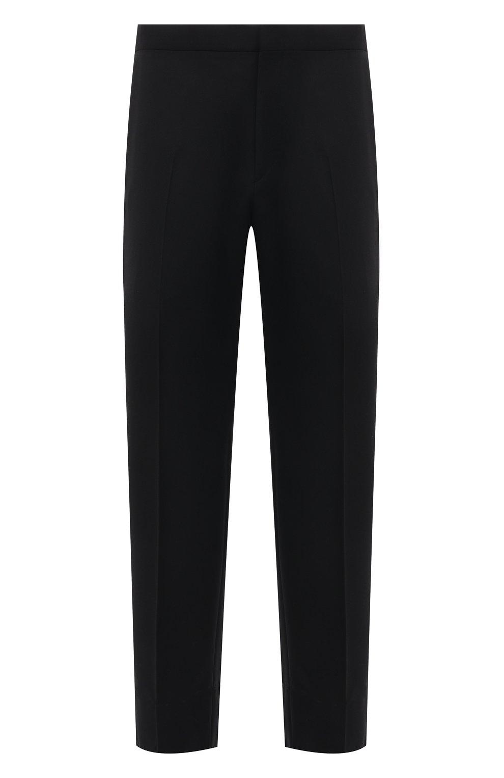 Мужские шерстяные брюки BRIONI черного цвета, арт. RQSB0L/09A25/THETA | Фото 1 (Материал внешний: Шерсть; Случай: Вечерний; Длина (брюки, джинсы): Стандартные; Стили: Классический; Материал подклада: Купро)