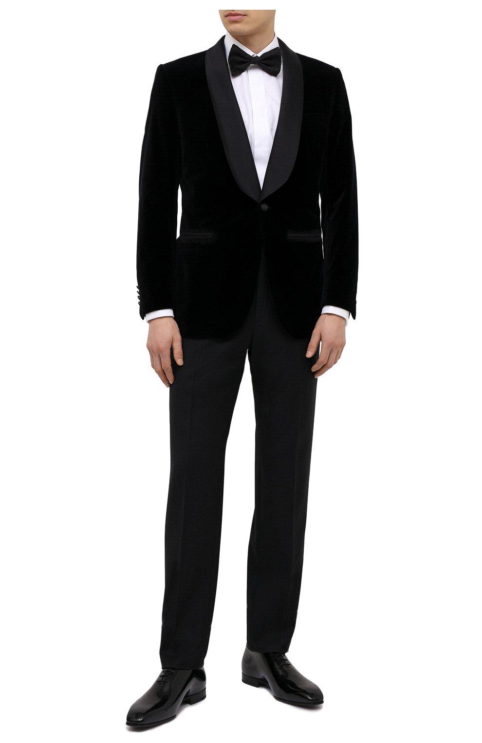 Мужские шерстяные брюки BRIONI черного цвета, арт. RQSB0L/09A25/THETA | Фото 2 (Материал внешний: Шерсть; Случай: Вечерний; Длина (брюки, джинсы): Стандартные; Стили: Классический; Материал подклада: Купро)