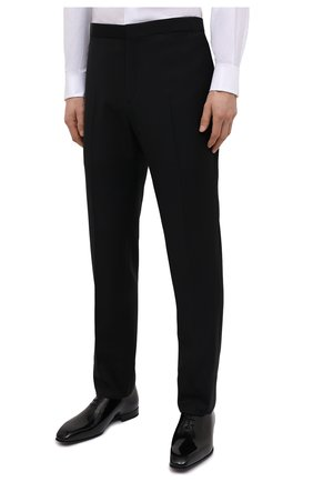 Мужские шерстяные брюки BRIONI черного цвета, арт. RQSB0L/09A25/THETA | Фото 3 (Материал внешний: Шерсть; Случай: Вечерний; Длина (брюки, джинсы): Стандартные; Стили: Классический; Материал подклада: Купро)