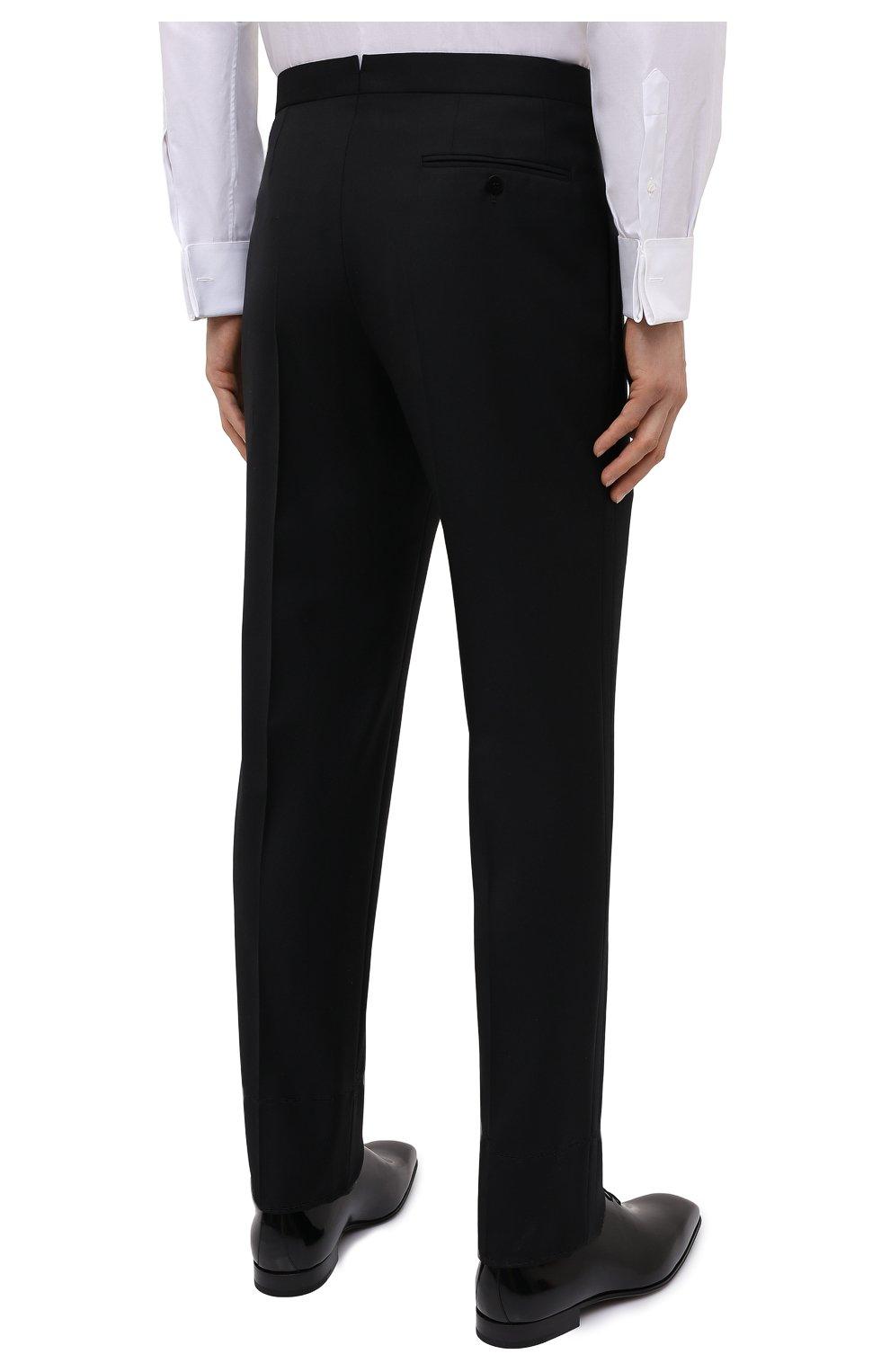 Мужские шерстяные брюки BRIONI черного цвета, арт. RQSB0L/09A25/THETA | Фото 4 (Материал внешний: Шерсть; Случай: Вечерний; Длина (брюки, джинсы): Стандартные; Стили: Классический; Материал подклада: Купро)