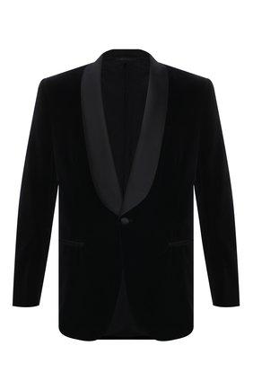 Мужской хлопковый пиджак BRIONI черного цвета, арт. REQJ0M/P0041/VIRGILI0 | Фото 1