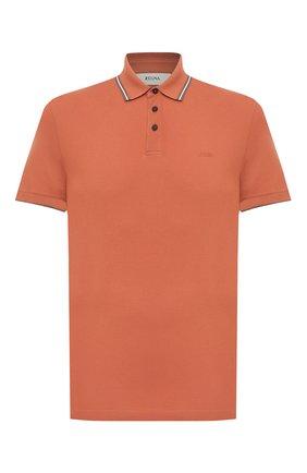 Мужское хлопковое поло Z ZEGNA оранжевого цвета, арт. VW360/ZZ661 | Фото 1 (Стили: Кэжуэл; Материал внешний: Хлопок; Застежка: Пуговицы; Длина (для топов): Стандартные; Рукава: Короткие)