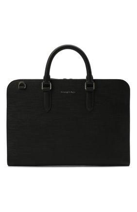 Мужская кожаная сумка для ноутбука ERMENEGILDO ZEGNA черного цвета, арт. C1560J-LHJAK | Фото 1