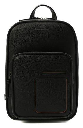 Мужской кожаный рюкзак ERMENEGILDO ZEGNA черного цвета, арт. C1707W-LHDAI | Фото 1