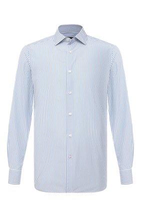 Мужская рубашка из хлопка и шелка ERMENEGILDO ZEGNA голубого цвета, арт. 901304/9MS0M2 | Фото 1