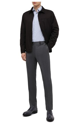 Мужская рубашка из хлопка и шелка ERMENEGILDO ZEGNA голубого цвета, арт. 901304/9MS0M2 | Фото 2