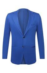 Мужской хлопковый пиджак KITON синего цвета, арт. UG81H07715 | Фото 1