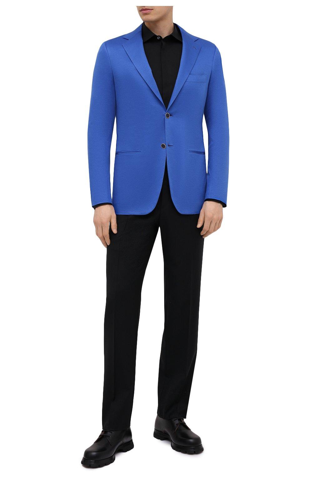 Мужской хлопковый пиджак KITON синего цвета, арт. UG81H07715 | Фото 2