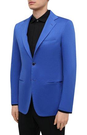 Мужской хлопковый пиджак KITON синего цвета, арт. UG81H07715 | Фото 3