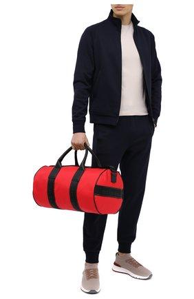 Мужская текстильная дорожная сумка KITON красного цвета, арт. UBGYMN00821 | Фото 2 (Материал: Текстиль; Ремень/цепочка: На ремешке)