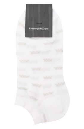 Мужские хлопковые носки ERMENEGILDO ZEGNA белого цвета, арт. N5V023810 | Фото 1