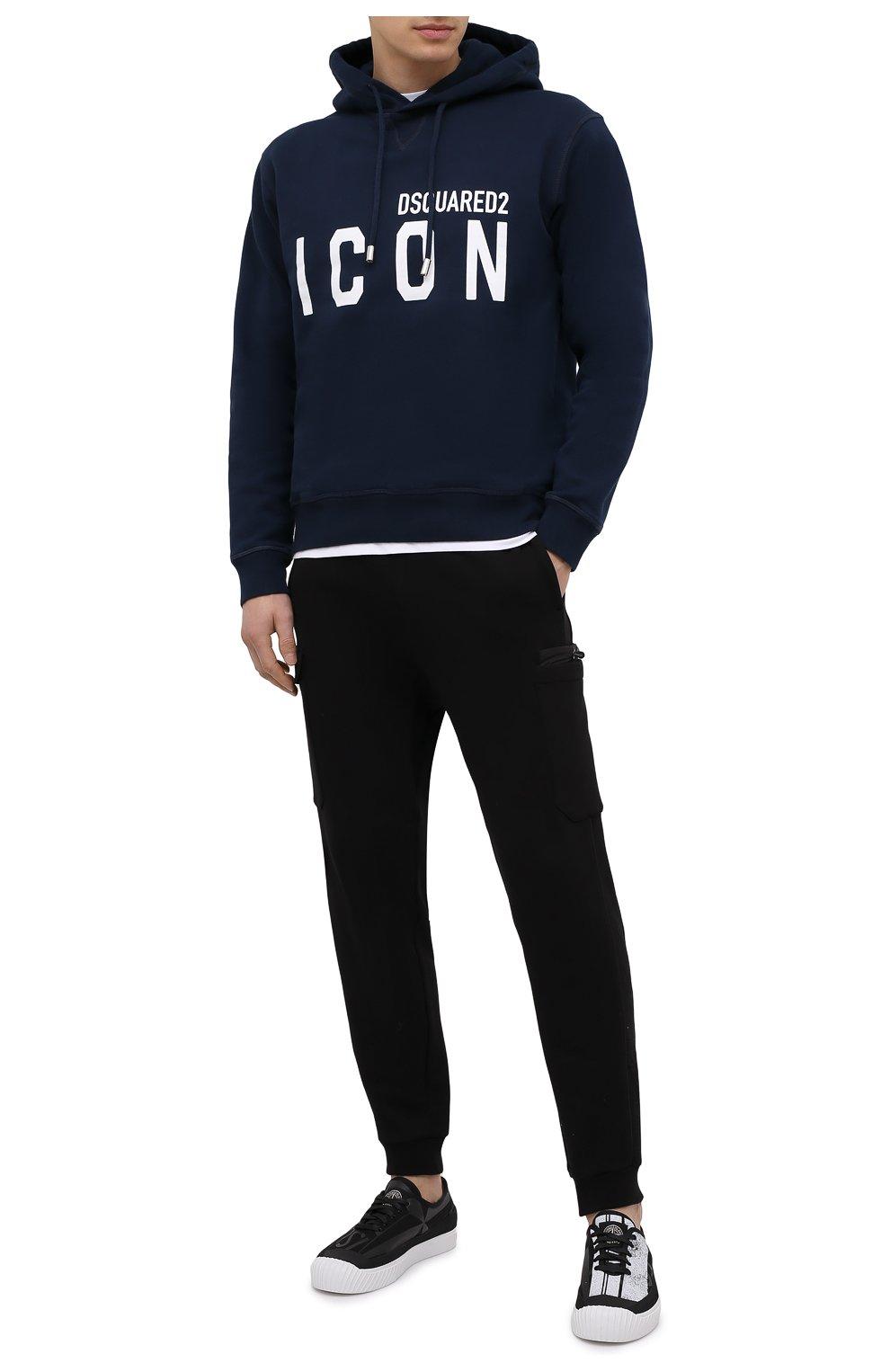 Мужской хлопковое худи DSQUARED2 темно-синего цвета, арт. S79GU0003/S25042 | Фото 2 (Рукава: Длинные; Длина (для топов): Стандартные; Стили: Гранж; Принт: С принтом; Мужское Кросс-КТ: Худи-одежда; Материал внешний: Хлопок)