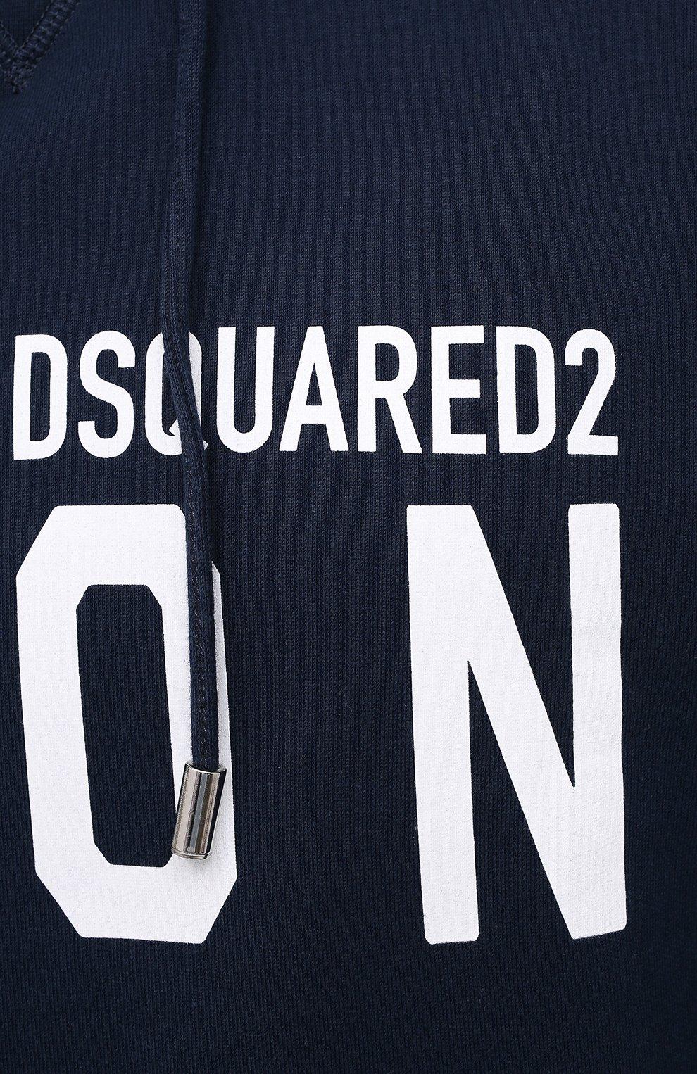 Мужской хлопковое худи DSQUARED2 темно-синего цвета, арт. S79GU0003/S25042 | Фото 5 (Рукава: Длинные; Длина (для топов): Стандартные; Стили: Гранж; Принт: С принтом; Мужское Кросс-КТ: Худи-одежда; Материал внешний: Хлопок)