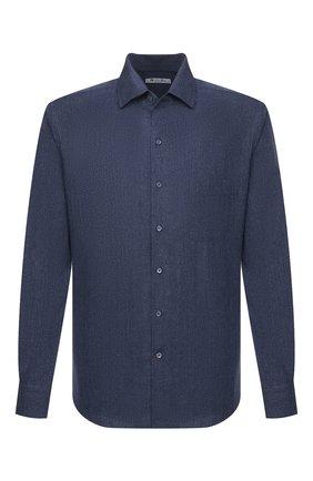 Мужская рубашка из хлопка и шелка LORO PIANA синего цвета, арт. FAL0380 | Фото 1