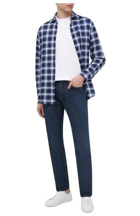 Мужская хлопковая рубашка DSQUARED2 темно-синего цвета, арт. S74DM0511/S53727 | Фото 2 (Рукава: Длинные; Длина (для топов): Стандартные; Принт: Клетка; Случай: Повседневный; Материал внешний: Хлопок; Воротник: Акула; Манжеты: На пуговицах; Рубашки М: Slim Fit; Стили: Гранж)