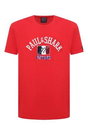 Мужская хлопковая футболка PAUL&SHARK красного цвета, арт. 21411076/C00 | Фото 1