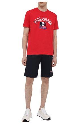 Мужская хлопковая футболка PAUL&SHARK красного цвета, арт. 21411076/C00 | Фото 2