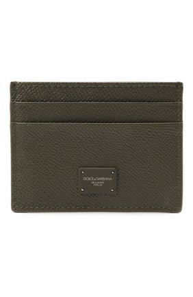 Мужской кожаный футляр для кредитных карт DOLCE & GABBANA хаки цвета, арт. BP0330/AZ602 | Фото 1